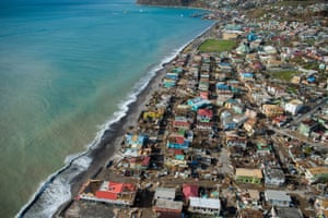 An aerial view of the devastation caused by Hurricane Maria in Roseau, capital of Dominica.