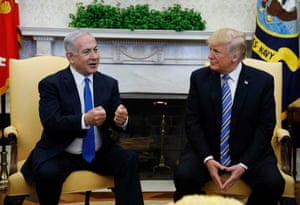 US president Trump meeting Israeli prime minister Benjamin Netanyahu in the Oval Office today
