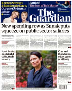 Guardian front page, Friday 20 November 2020