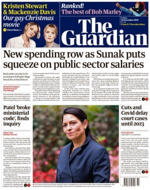 Guardian front page, Friday 20 November 2020