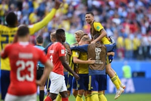 Sweden's players celebrate at the final whistle.