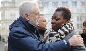 The Labour leader Jeremy Corbyn consoles a mourner outside St Paul's Cathedral.