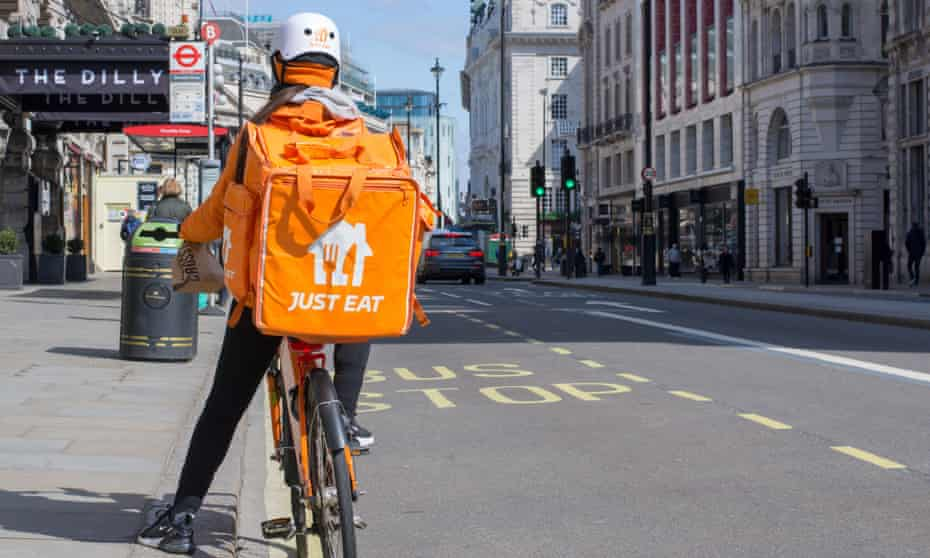 Just Eat delivery rider in the West End of London.