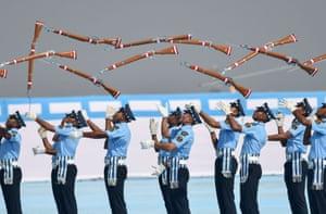 Guwahati, India: Air force recruits perform a drill