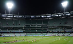 An AFL match between Richmond and Carlton at the MCG in Melbourne, where they plaid their first game with no spectators due to restrictions put in place to contain Covid-19. Thursday, March 19, 2020