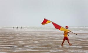 A lifeguard at Camber Sands.
