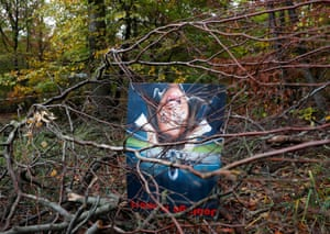 A placard opposing aircraft noise at the site of a protest camp in the Trebur forest near Frankfurt airport, Germany.