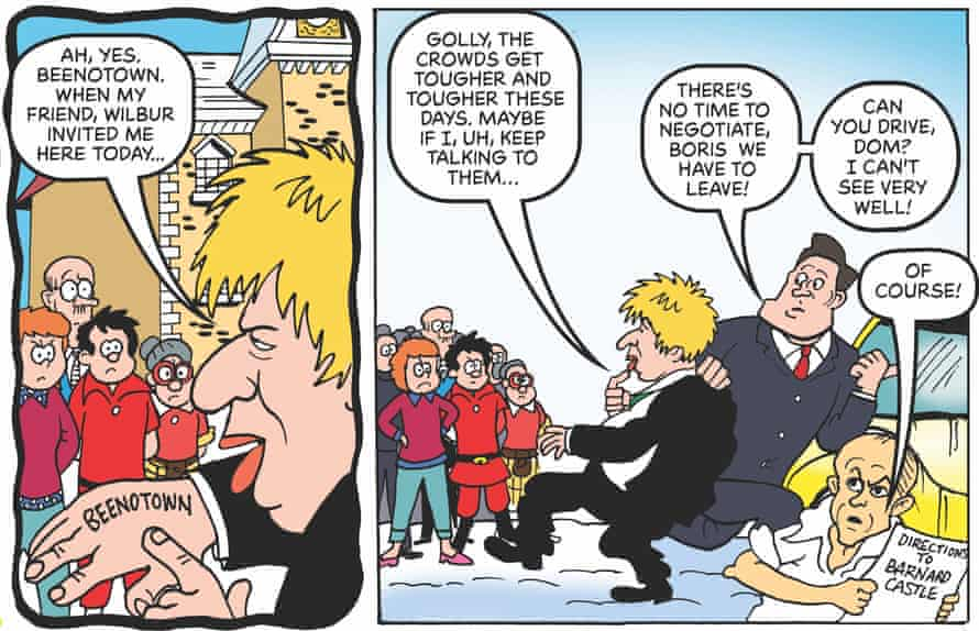 Boris Johnson and Dominic Cummings in BeanOLD, in a reference to the adviser's Barnard Castle trip.
