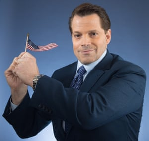 Anthony Scaramucci, former White House communications director, with tiny US flag, photographed in New York in May 2018