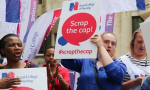 Royal College of Nursing nurses protest against the government's 1% public sector pay cap.