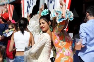 Revellers at the Feria de la Manzanila, Sanlucar in Spain