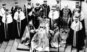 Queen Elizabeth II receives the fealty of the archbishop of Canterbury, centre with back to camera, and the bishops of Durham, left and Bath and Wells, during her 1953 coronation in Westminster Abbey