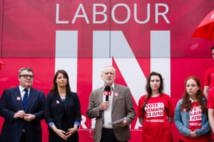 On stage in front of 'Labour In' logo