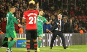 Mark Hughes watches on during Southampton's draw against Watford.