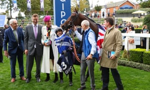 Donjuan Triumphant ridden by Silvestre De Sousa after winning the Qipco British Champions Sprint Stakes.