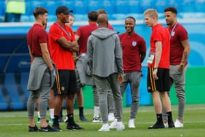 Manchester City team-mates John Stones, Vincent Kompany, Fabian Delph, Raheem Sterling, Kevin De Bruyne and Kyle Walker catch up with each other before the match.