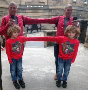 George and his dad outside the Camera Obscura in Edinburgh