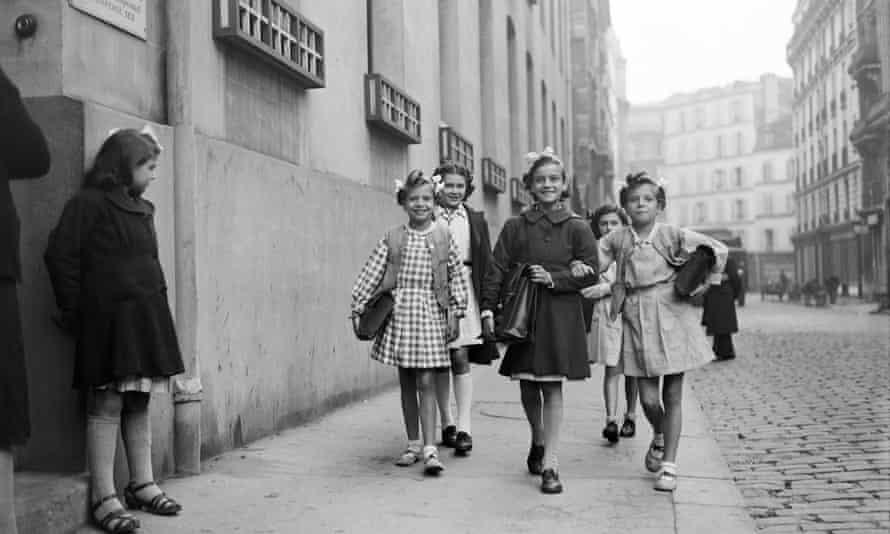French schoolgirls in Paris in 1945.