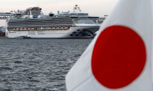 Cruise ship Diamond Princess is moored at Daikoku Pier Cruise Terminal in Yokohama.
