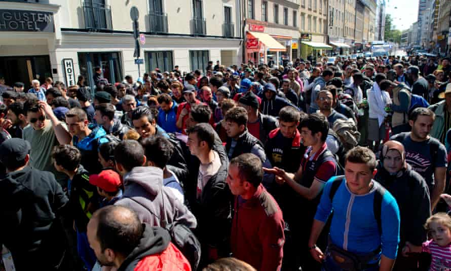 Refugees are accompanied to accommodation