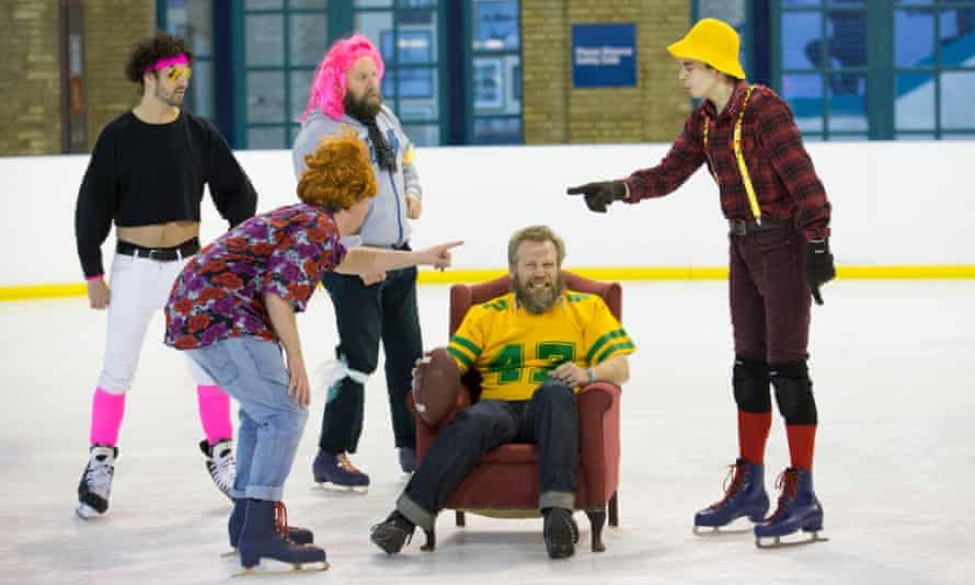 Tony Law, in armchair, rehearses with the Weirdos.