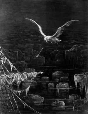 An engraving by Gustav Dore from Samuel Taylor Coleridge's The Rime of The Ancient Mariner, circa 1850.
