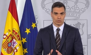 A video grab from Pedro Sánchez's announcement on Saturday