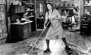 A still from the 1940 film Scatterbrain, showing a woman doing housework