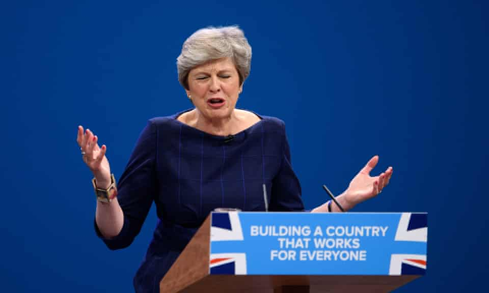 Theresa May in full flow at Conservative conference