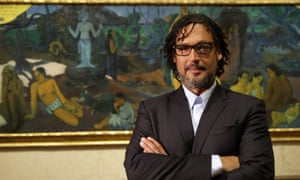 David Olusoga with Paul Gauguin's painting Where Do We Come From? What Are We? Where Are We Going?