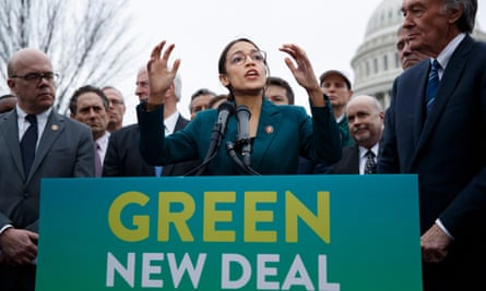 The Global Green New Deal is based on proposals including those made to the US Senate by Alexandria Ocasio-Cortez.