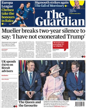 Guardian front page, 30 May 2019