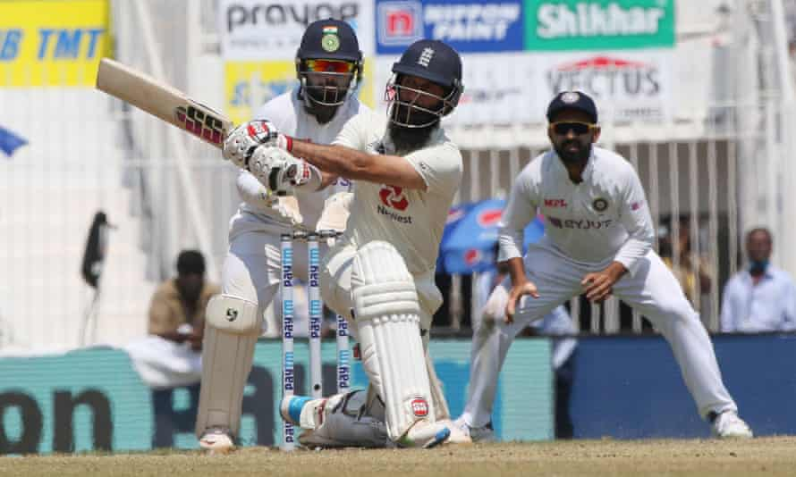 Moeen Ali in action against India this week.