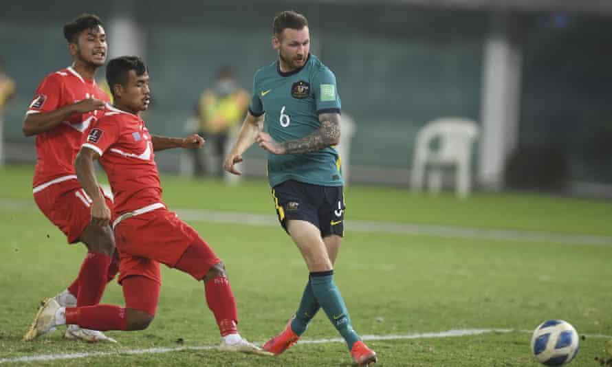 Australia's Martin Boyle scores the third goal against Nepal in Kuwait City.