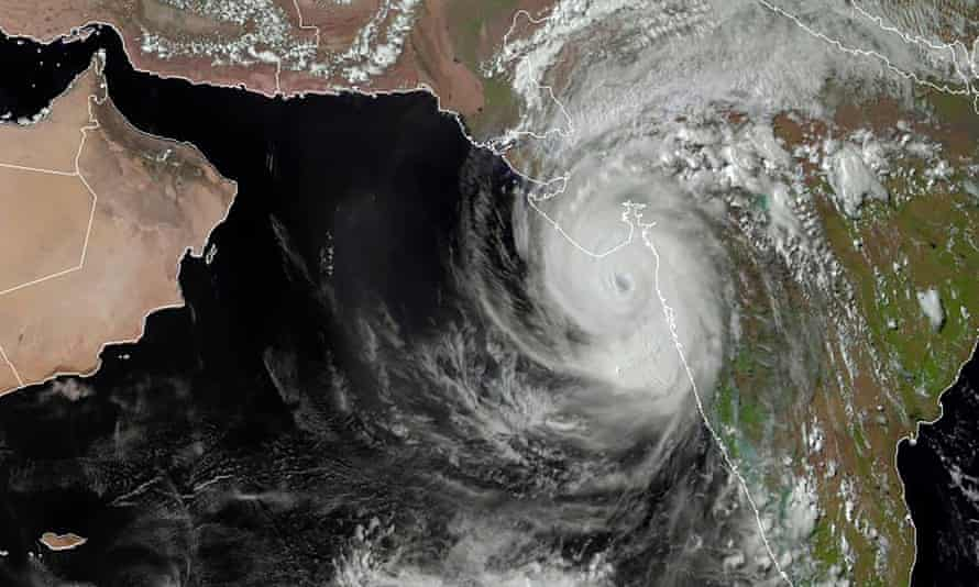 A satellite image shows Cyclone Tauktae off the west coast of India
