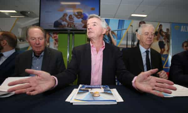 Ryanair boss Michael O'Leary, centre, speaks during the AGM at the airline's Dublin headquarters.
