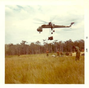 Larry Diesburg - CH-54 Tarhe Skycrane dropping dozer at LZ near Tay Ninh. Served 1969-70