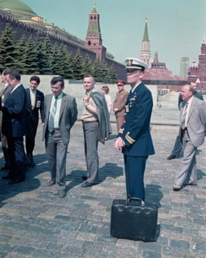 The nuclear football in Red Square during Reagan's visit.