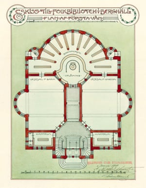 Kallio Library was opened in 1912 in the rapidly growing working-class district of Helsinki. Preliminary floor plan by Karl Hård af Segerstad, Helsinki City Architect, in 1909.