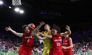 Elizabeth Cambage of Australia competes for the ball during the women's gold medal basketball match against England.