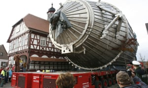 The 200-tonne giant spectrometer is transported through Leopoldshafen in Germany