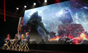 Exciting prospects … designers discuss the game Anthem at the E3 conference 2018.