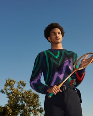Alexandre wears 1980s scribble knit, £495, and navy wool trousers, £455, both paulsmith.co.uk. Photographer's assistant: Jade Smith. Stylist's assistant: Penny Chan. Hair: @hurrbydavid. Makeup: Delilah Blakeney using Mac Cosmetics. Models: Alexandre Sappa at Storm and Aidan at Named. Post-production: Frisian Post
