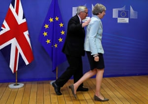 Theresa May is welcomed by European commission president Jean-Claude Juncker at the EC headquarters in Brussels, on Friday.