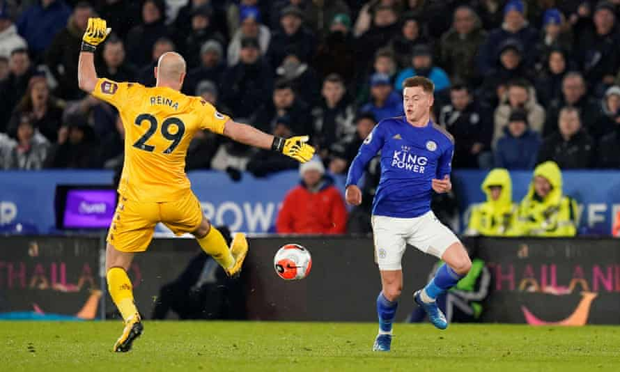 Harvey Barnes evades a charging Pepe Reina to open the scoring