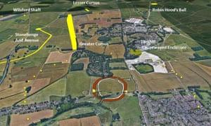 Yellow dots mark the newly discovered prehistoric shafts around the Durrington Walls henge, near Stonehenge, Wiltshire.