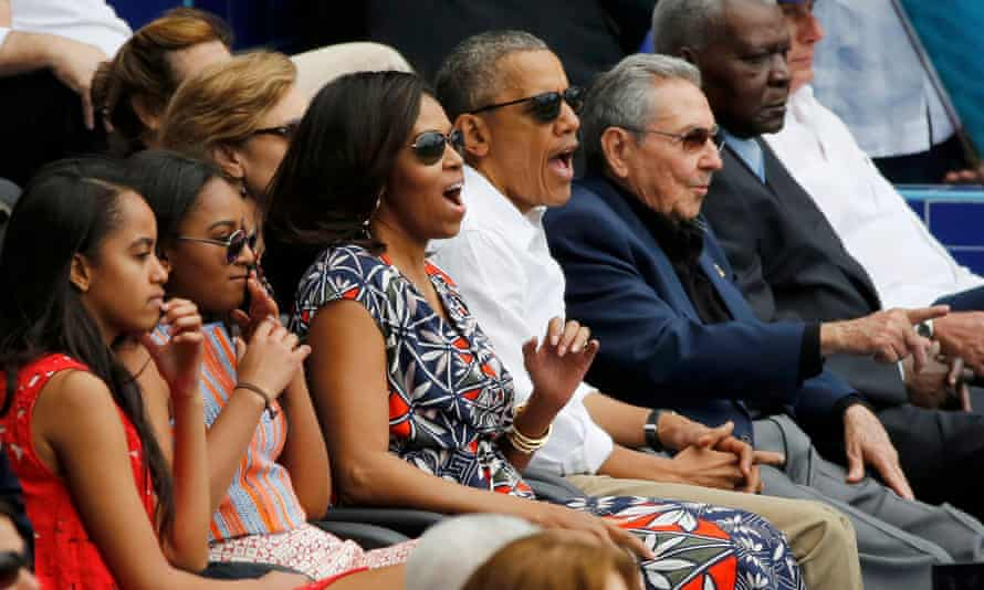 Barack Obama and his family react to the game alongside the Cuban president, Raúl Castro.