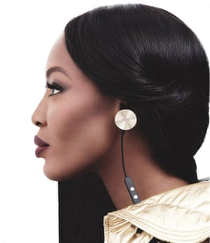 Naomi Campbell poses in a pair of i.am headphones.