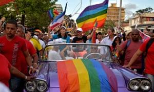 Mariela Castro (centre), daughter of Cuba's former president Raúl Castro, participates in the gay pride parade in Havana