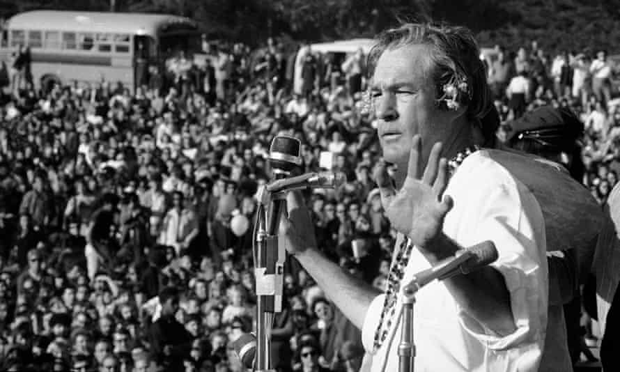 Timothy Leary addresses a crowd of hippies at the 'Human Be-In' that he helped organise in Golden Gate Park, San Francisco, California, in January 1967. Leary told the crowd to 'Turn on, tune in and drop out'
